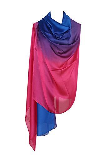 PB-SOAR Mode Damen Farbverlauf Schal Seidenschal Halstuch Stola 190 x 100cm, leicht und schlicht, 18 Farben auswählbar (Königsblau/Pink)