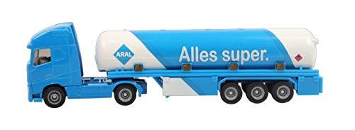 SIKU 1626, Tanksattelzug, Metall/Kunststoff, Blau/Weiß, ARAL-Optik, Spielzeugauto für Kinder, Bereifung aus Gummi (Spielzeug-lkw Tankwagen)