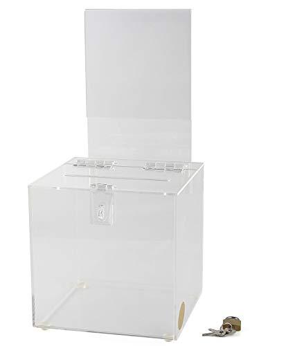 Acryl Raffle Box mit Schloss und Schildhalter, Spende und Wahlurne, Vorschlagsbox - Kunststoff Comment Box - Plexiglas Sammelbox - Reklamationsbox mit Schlitz - (durchsichtig, 20,3 x 20,3 cm) -