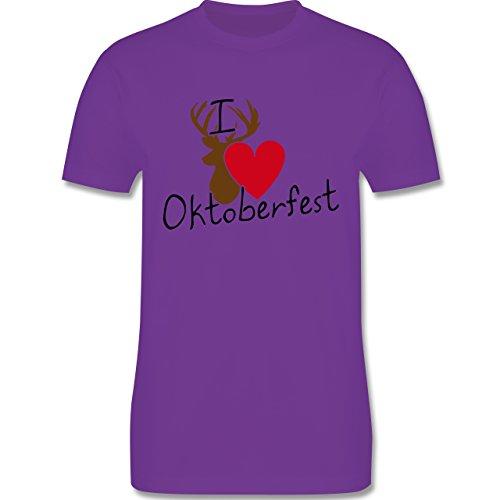 Oktoberfest Herren - Oktoberfest Love Hirsch - Herren Premium T-Shirt Lila