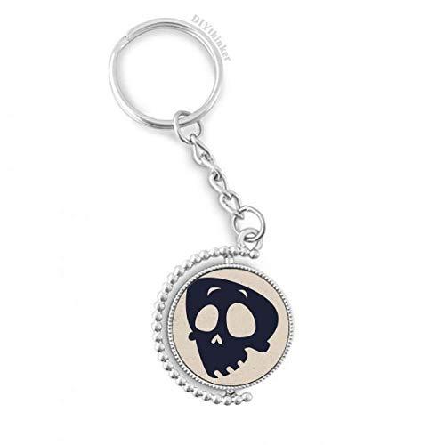 DIYthinker Hilflos Emoji Halloween Schädel Drehbare Schlüsselanhänger Ringe 1.2 Zoll x 3.5 Zoll Mehrfarbig