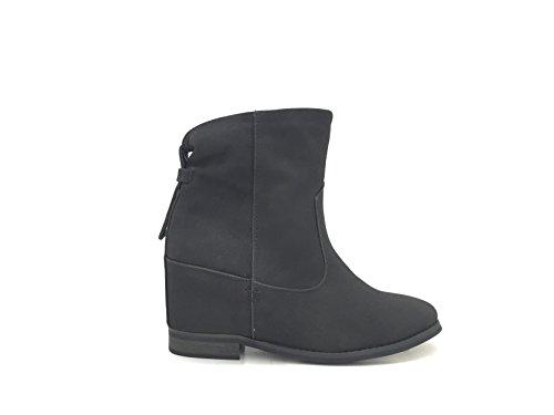 CHIC NANA . Chaussure femme bottine style nubuck compensées intérieur. Noir