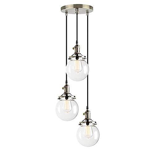 Bronze-drei Licht-insel (Industrielle moderne Vintage Loft Bar Decke Pendelleuchten Montage geschaltet Kronleuchter Glaskugel 3 Lichter hängende Leuchte für Insel Wohnzimmer Esszimmer Schlafzimmer, Bronze)