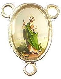 R Heaven - Silver centro de st. jude para rosario unión conector religiosa 17mm