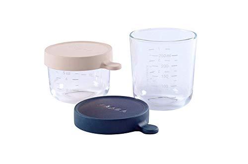 Béaba 912654 - Set potes cristal comida bebe, unisex, color beige y azul marino