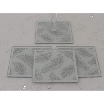 White Rectangle Mirror Glass Silver Feather Glitter Table Place Mats /& Coasters