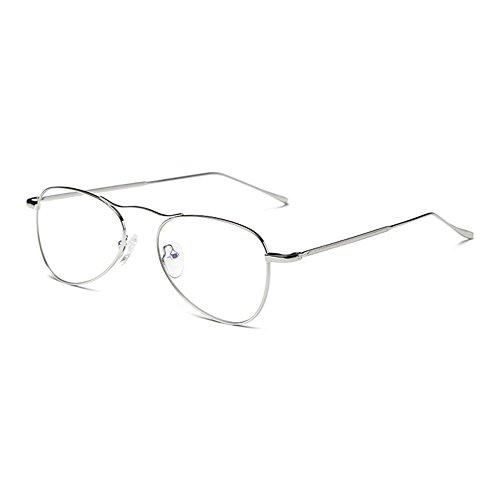 Männer Frauen Anti Blau Licht Gläser - Metall Rahmen Flieger Brillen Clear Lens Gläser Rahmen - (Brille Flieger)