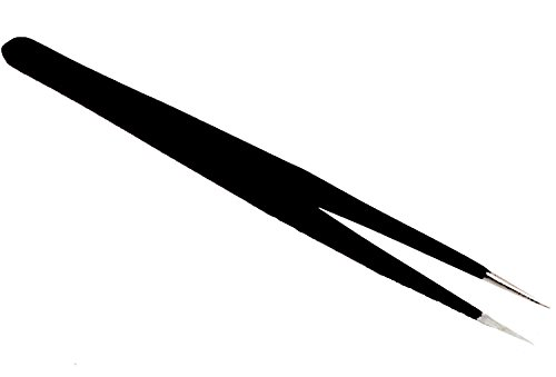 Gerade Spitze Pinzette (PINZETTE für Straß, Perlen, Sticker: SCHWARZ mit GERADER Spitze ... auch zum Einsetzen von Lashes geeignet)
