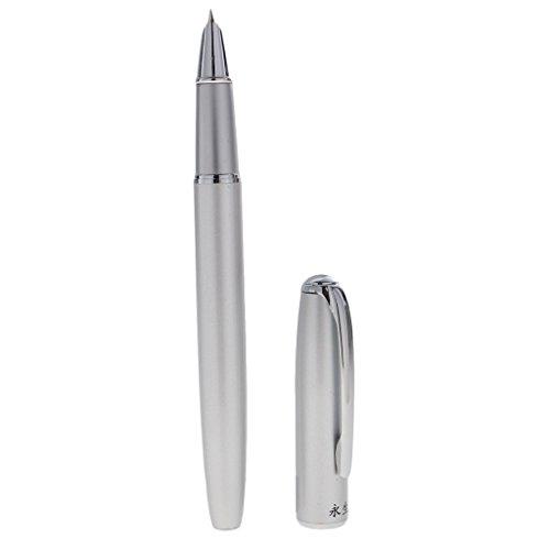 MagiDeal Kalligraphie Füllhalter Füllfederhalter Perfekt für Geschäftsgeschenke - Farbwahl: Lila / Weiß / Silber - Silber