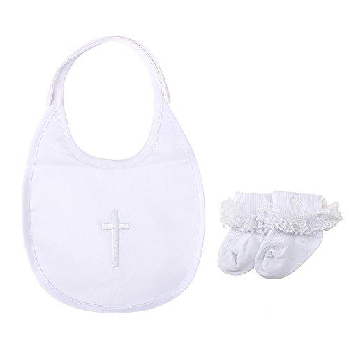 DELEBAO Baby Taufe Lätzchen Taufe Socken Weiß Stirnband Satz Baby Jungen Mädchen Besticktes Kreuz Tauflätzchen Taufsocken (Lätzchen und Mädchen Socken)