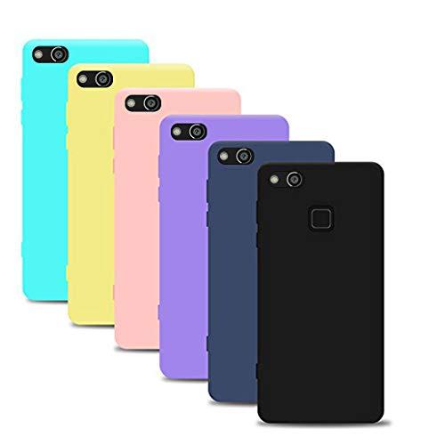 33f8698350a Silingsan 6X Funda Huawei P10 Lite(5.2 Pollici), Carcasa Color Caramelo Funda  Silicona
