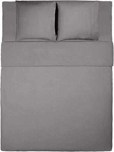 Solide Ägyptischer Baumwolle Blatt (Attireify Bettwäsche ÄGYPTISCHE Baumwolle Set 600 Fadenzahl Langstapel gekämmt Reine natürliche Baumwolle Bettwäsche solide Tiefe Tasche (Dark Gray, King))