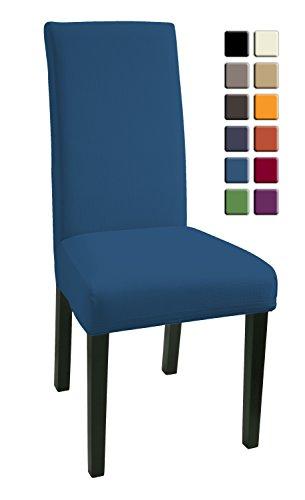 SCHEFFLER-HOME Mia Stuhlhussen 2 Stück, Stretch-Hussen Stuhl-Bezug bi-elastische Schutz-Husse, Dekor moderne Spann-Abdeckung mit Gummiband - Blau (Hussen Stück Ein)