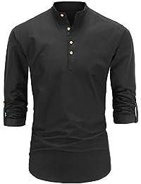 JEETOO Herren Langarm Oxford Hemd Modell Slim Fit Stehkragen Bügelleicht 8a7632f558