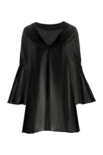 Black Damen Pascale Ausgestelltes Sleeve V-Ausschnitt Etuikleid Schwarz