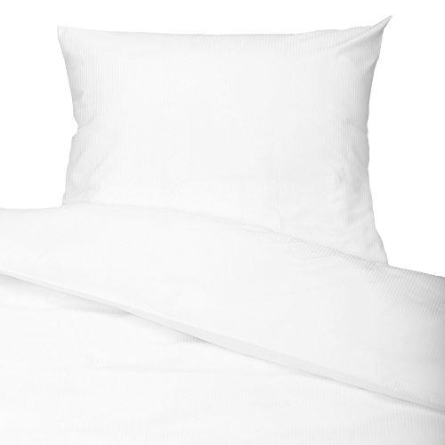 ZOLLNER® 2-teiliges Bettwäsche-Set / Garnitur mit Streifen aus hochwertigem Baumwollsatin mit Hotelverschluss (80x80 cm + 140x200 cm), einfarbig weiß, in Hotelqualität, Serie Prestige S3