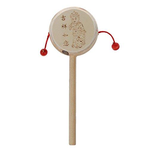 TOOGOO(R) Chinesische Alt hoelzern Rassel Trommel Hand schuetteln Spielzeug fuer Kinder (Chinesische Trommeln)