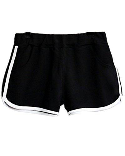 EMIN Damen Baumwolle Sporthose Shorts Hot Pants Strand Running Gym Yoga Hosen mit Taschen Schwarz