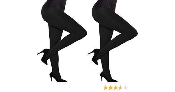 2 Pack Women Plus Size Opaque Microfiber Tights Black UK size 18-22 Aurellie