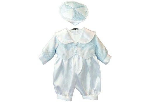 Jaan Collections Baby Jungen (0-24 Monate) Taufbekleidung, Gestreift Weiß White Blue 3-6 Monate
