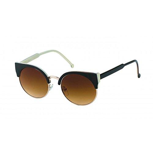 Chic-Net Sonnenbrille Damen rund Oberkante eckig Vintage Cat Eye 400UV Metallrahmen Retro weiß braun John Lennon