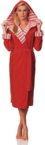 Merry Style Langer Damen Velour Bademantel mit Kapuze Penelope Coral