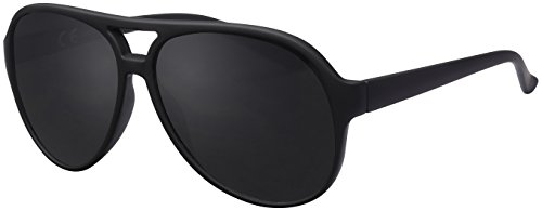 La Optica Sonnenbrille Original UV400 Unisex Retro Pilot - Farben, Einzel-/Doppelpacks, Verspiegelt (Einzelpack Gummiert Schwarz (Gläser: Grau))