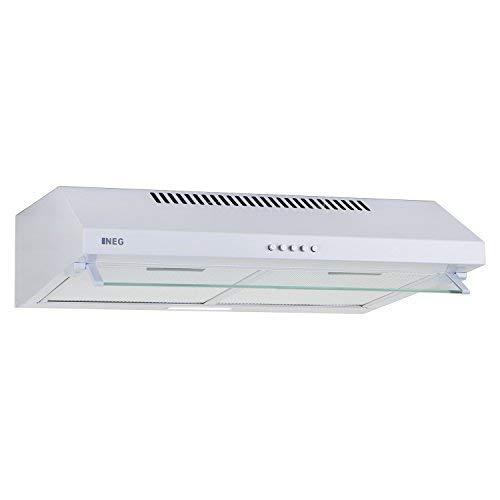NEG Dunstabzugshaube NEG15-ATW (weiß) Edelstahl-Unterbau-Haube (Abluft/Umluft) und LED-Beleuchtung (60cm) Unterschrank- oder Wandanschluss