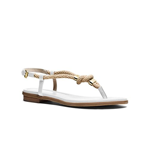 Sandale tong Michael Kors Holly en cuir blanc et corde Blanc