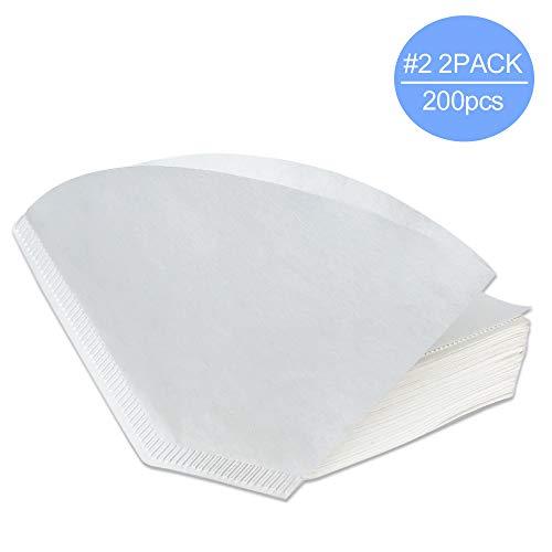 White Paper Filter (V60 Papier-Kaffeefilter, 2 kegelförmige Kaffeefilter, Weiß, 200 Stück #2 White Paper Filters 200pcs/2Pack)