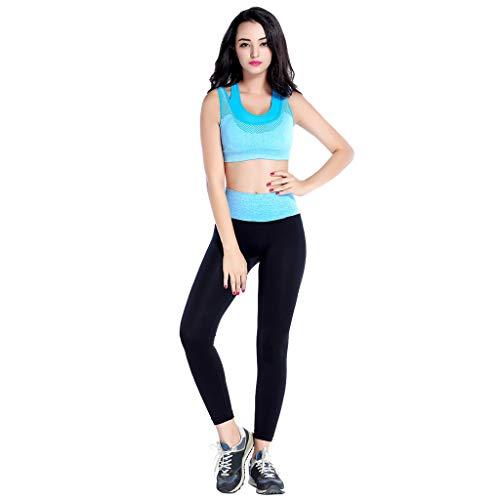 Clearance!DDKK 2019 Damen Sport-Hose mit Reißverschluss für Yoga, Fitness, Knöchelleggings, Sporthose L himmelblau