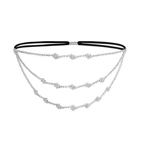 Metme Gatsby Haarschmuck Kette Kristall Strass Flapper Stirnbänder Abschlussball Schmuck Hochzeits Decor Elastisch Kopfstück for Damen Weiß
