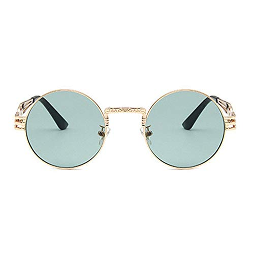 ZHAOSHUNAN Sonnenbrillen Punk Sunglasses Men and Women Metal Wrap Glasses Round Sun Shader Sunglasses Mirror,C