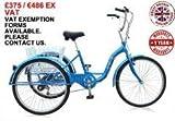 Jorvik 66cm Aluminium–3Rädern Trike, Erwachsene Dreirad. Große Räder, leichter Rahmen. Blue with Black Leather Seat 66 cm