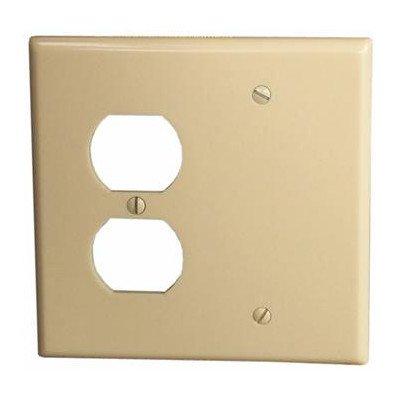 Morris 81230 Lexan Wall Plate, 2 Gang with 1 Blank, 1 Duplex, Ivory