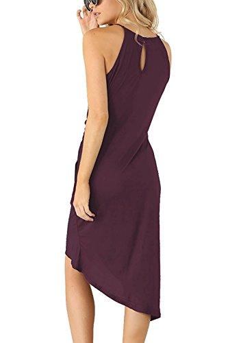 Eliacher Frauen hling und Sommer einfachen Falten Weste Rock Kleid 6070 Lila