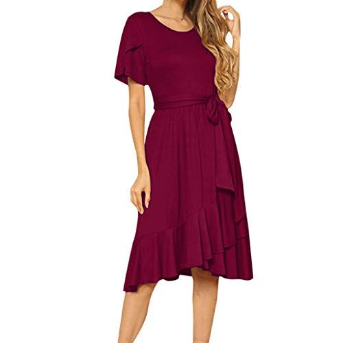 Damen Freizeit Kleid mit Gürtel Elegant Rundhals Midi Kleider Blusenkleider Ballkleid Festkleid Frauen Langarm Tasche Wickelkleider Abendkleider Partykleid