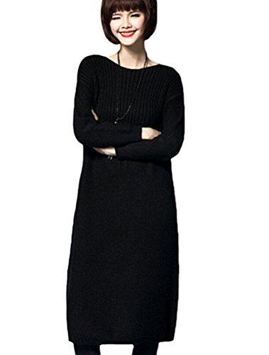MatchLife Femme Pull-over Jumper Chandail Pull Robe Style3-Noir
