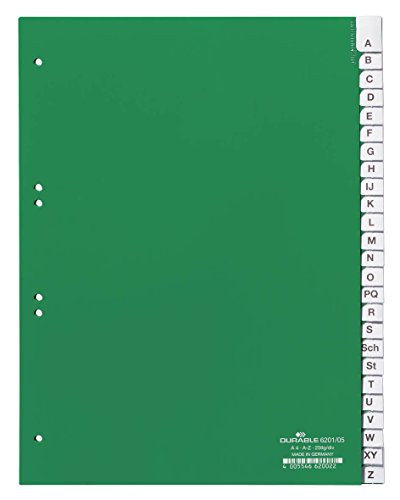Durable 620105 Kunststoffregister A - Z, A4 hoch, volldeckend, 25er-Teilung, grün