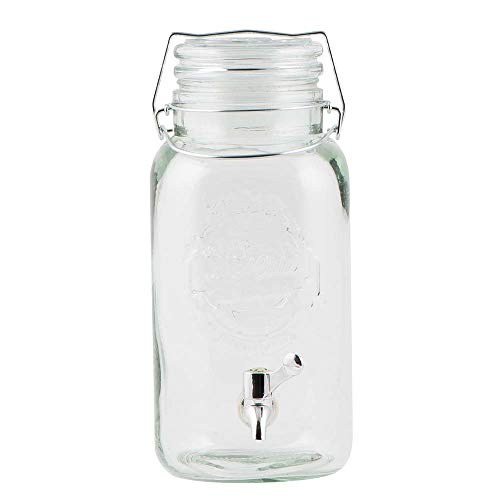 IB Laursen Vintage Getränke Dispenser Saftspender Getränkespender Wasserspender aus Glas in Weckoptik Einmachglas inkl. Zapfhahn und Metall Clip mit einer Füllmenge von 4L, Deckel aus Glas, perfekt für Ihre Sommerbowle