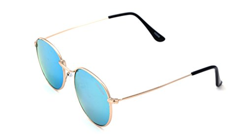 Elijaah Round Unisex Sunglasses (M3024_Golden|57|Gold)