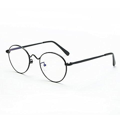 Cyxus filtre bleue lumière lunettes, rétro ronde cadre [transparent lentille] anti fatigue oculaire Mode Noir