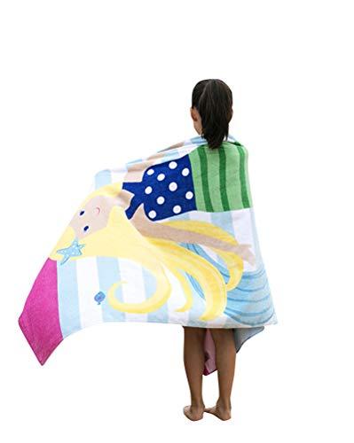 CUOCU Kinder Baumwolle Poncho Kapuzen Badetuch Bademantel Schwimmen Strand Tuch Weich Trocknend Cartoon für Mädchen Jungen Yellowmermaid 160 * 80cm