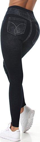 Veryzen Damen High-Waist Jeggings Leggings Hoher Bund Jeans-Look Destroyed-Style Blumen Ripped-Optik Leo-Look (36/38) Ripped Black