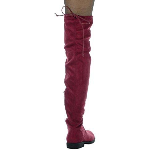 Angkorly - damen Schuhe Oberschenkel-Boot - Oberschenkel-Boot - Flexible - Spitze Blockabsatz high heel 3.5 CM Burgunderrot