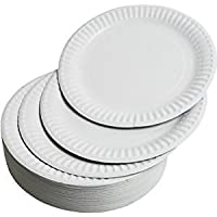 Large Paper Plates 23cm - Pack of 100-9 inch Paper Plates, Strong and Durable Disposable Party Plates by REAL ACCESSORIES® Can be Used for Hot or Cold Foods, Can be use in Microwave too.