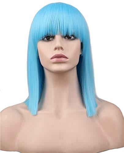 PWWLC Kurze Glatte Rote Blonde Blaue Grüne Rosafarbene Synthetische Haarperücke Der Hohen Temperatur Faser Für Partei-Kostüm 14Inches Himmel-Blau