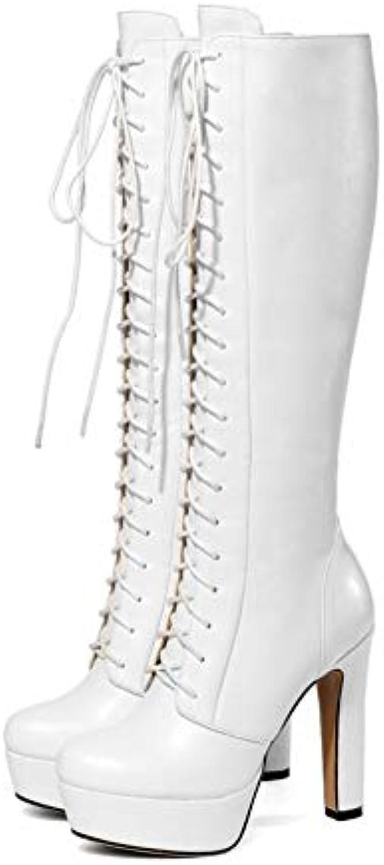 YaXuan Scarpe da Donna in Pelle Autunno Inverno Cinturino alla Caviglia Moda Stivali Stivali Tacco a Spillo Piattaforma... | Buona qualità  | Maschio/Ragazze Scarpa
