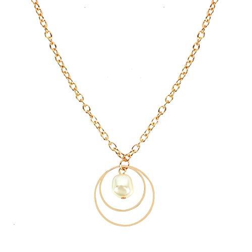 Cool-House-Jewelry shop Einfache Art Art und Weise Wilde Perlen doppelte Ring Hipster Halskette weibliche Modelle Ring Doppel-Ring-Anhänger, Gold