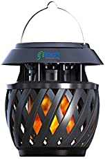 IFITech Solar/USB Charge-able LED Lantern - Hanging Flame Design Light with Handle - Rattan Style
